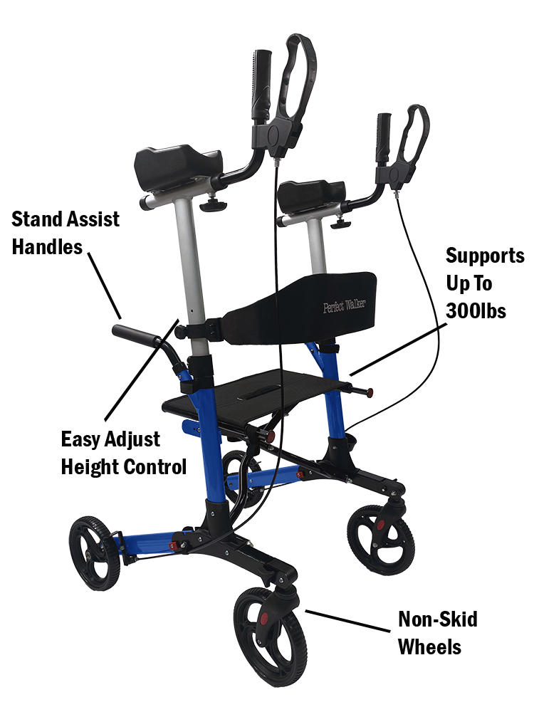 The Perfect Walker: supports up to 300 pounds, has stand assist handles, has easy adjust height control and non-skid wheels.